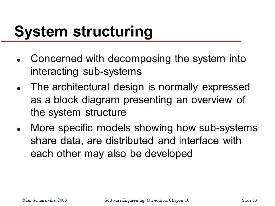 ©Ian Sommerville 2000 Software Engineering, 6th edition. Chapter 10Slide 13 System structuring l Concerned with decomposing the system into interactin