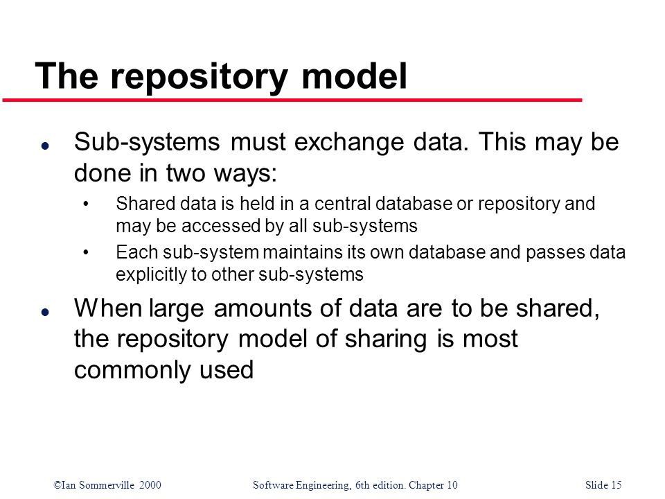 ©Ian Sommerville 2000 Software Engineering, 6th edition. Chapter 10Slide 15 The repository model l Sub-systems must exchange data. This may be done in