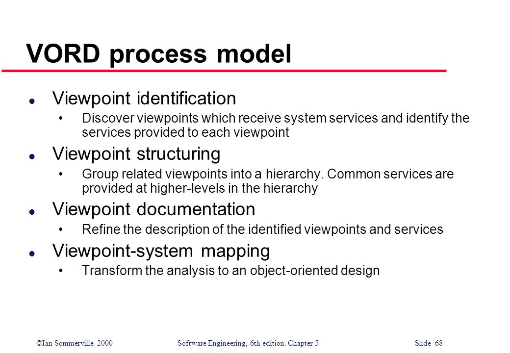 ©Ian Sommerville 2000 Software Engineering, 6th edition. Chapter 5 Slide 68 VORD process model l Viewpoint identification Discover viewpoints which re