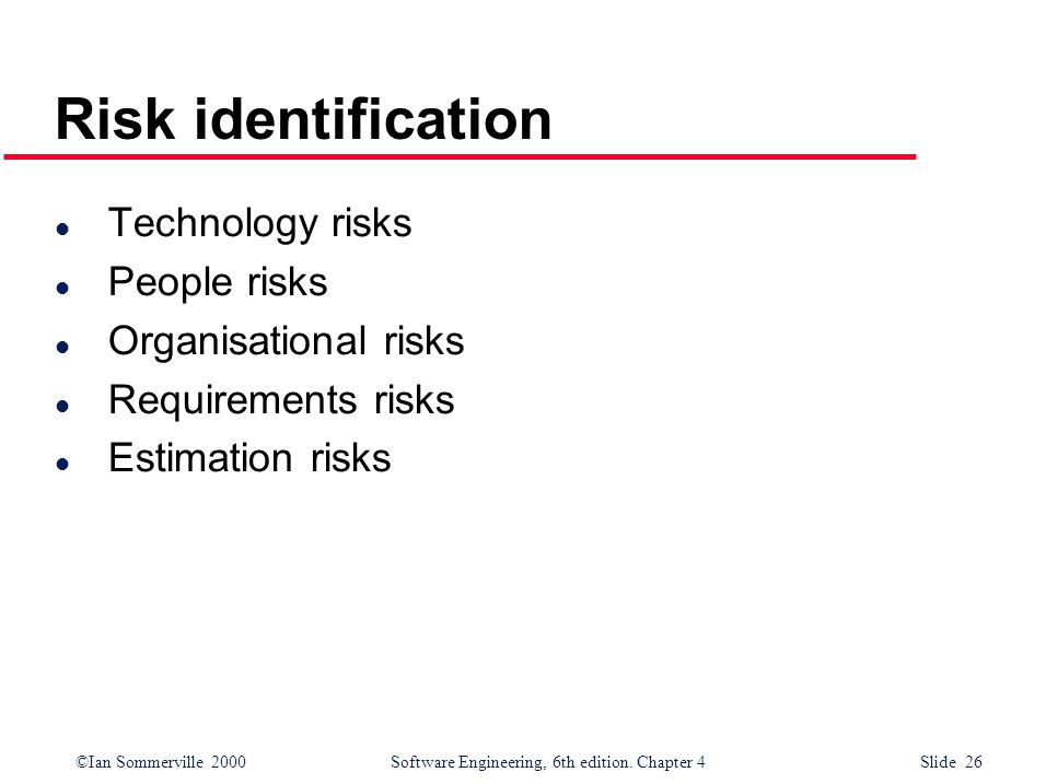 ©Ian Sommerville 2000Software Engineering, 6th edition. Chapter 4 Slide 26 Risk identification l Technology risks l People risks l Organisational risk