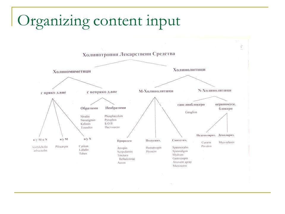 Organizing content input