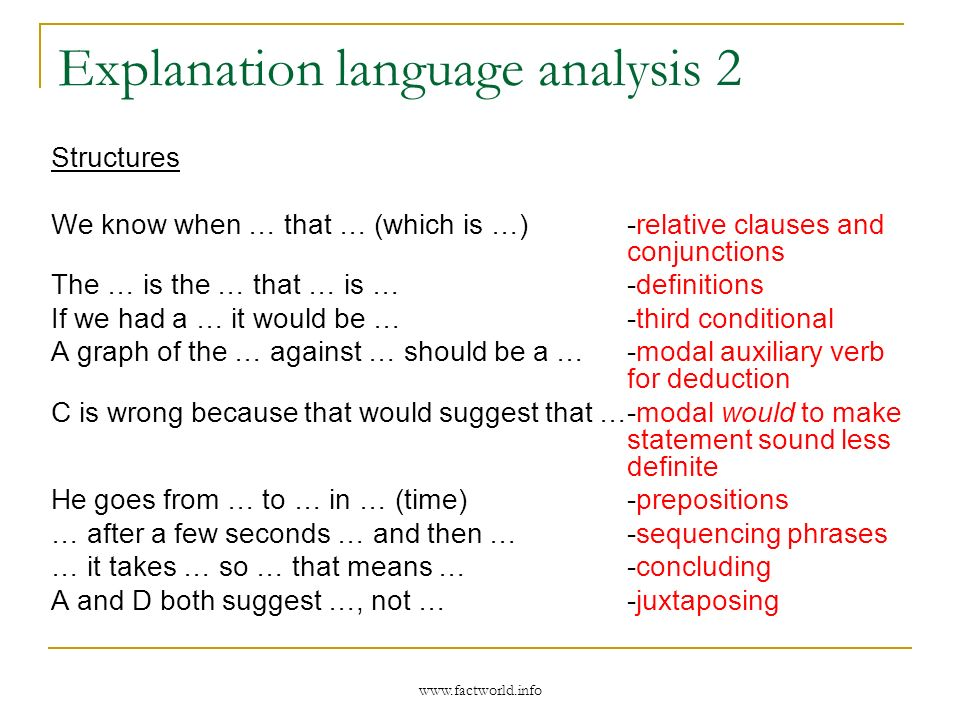 www.factworld.info Explanation language analysis 2 Structures We know when … that … (which is …) -relative clauses and conjunctions The … is the … tha