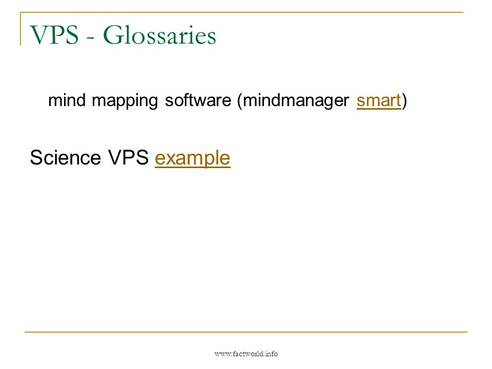 VPS - Glossaries mind mapping software (mindmanager smart)smart Science VPS exampleexample