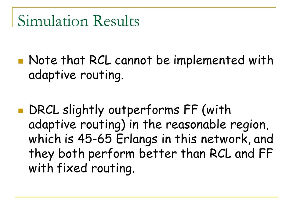 Simulation Results Note that RCL cannot be implemented with adaptive routing. DRCL slightly outperforms FF (with adaptive routing) in the reasonable r