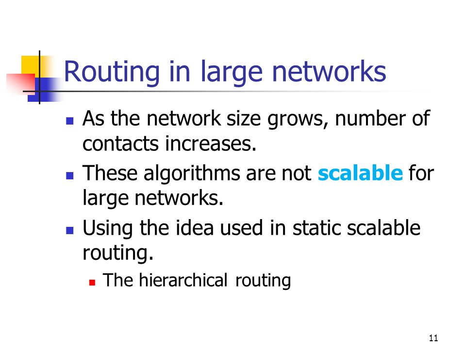 Routing in large networks As the network size grows, number of contacts increases. These algorithms are not scalable for large networks. Using the ide