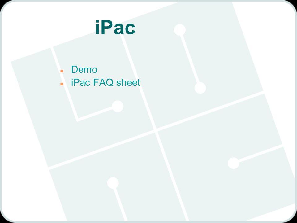 iPac n Demo n iPac FAQ sheet