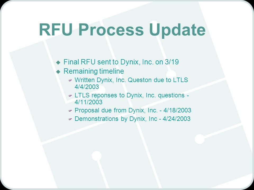 RFU Process Update u Final RFU sent to Dynix, Inc. on 3/19 u Remaining timeline F Written Dynix, Inc. Queston due to LTLS 4/4/2003 F LTLS reponses to