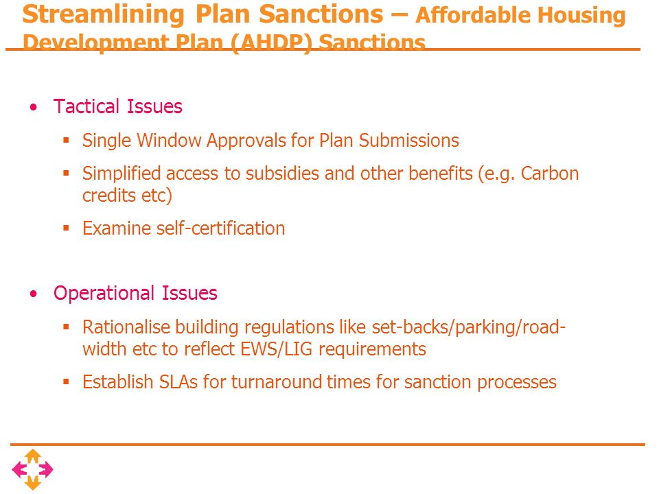 Streamlining Plan Sanctions – Affordable Housing Development Plan (AHDP) Sanctions Tactical Issues Single Window Approvals for Plan Submissions Simplified access to subsidies and other benefits (e.g.