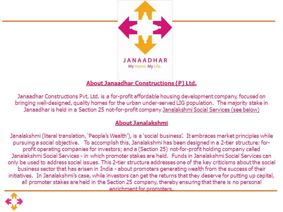 About Janaadhar Constructions (P) Ltd. Janaadhar Constructions Pvt.