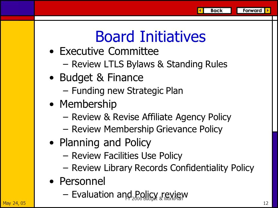 May 24, 05 FY 2006 Budget & WorkPlan 12 Board Initiatives Executive Committee –Review LTLS Bylaws & Standing Rules Budget & Finance –Funding new Strategic Plan Membership –Review & Revise Affiliate Agency Policy –Review Membership Grievance Policy Planning and Policy –Review Facilities Use Policy –Review Library Records Confidentiality Policy Personnel –Evaluation and Policy review