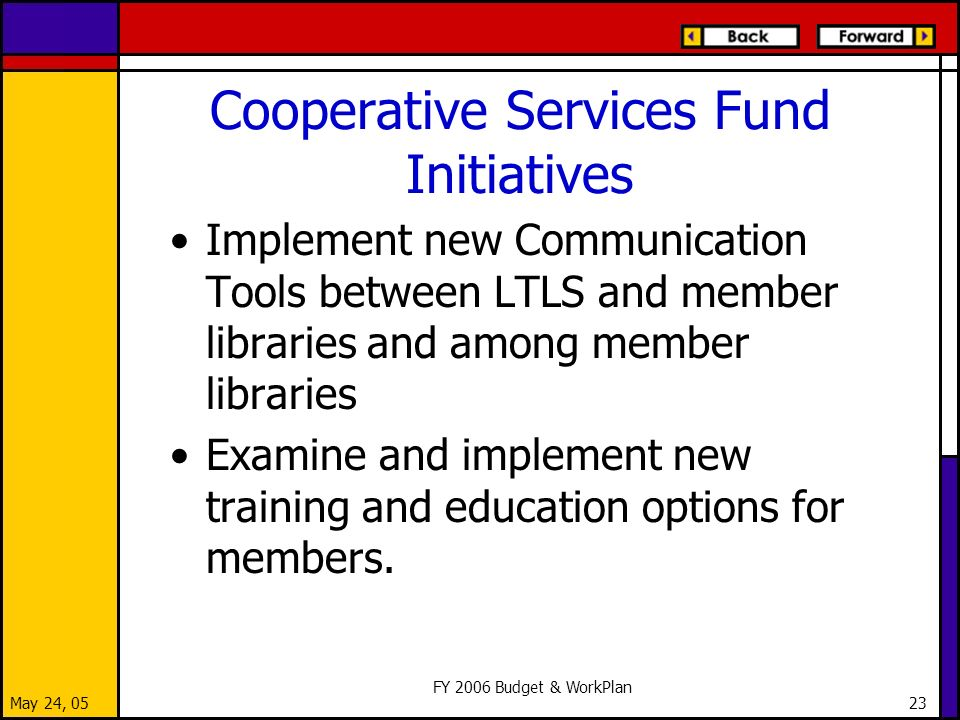 May 24, 05 FY 2006 Budget & WorkPlan 23 Cooperative Services Fund Initiatives Implement new Communication Tools between LTLS and member libraries and among member libraries Examine and implement new training and education options for members.