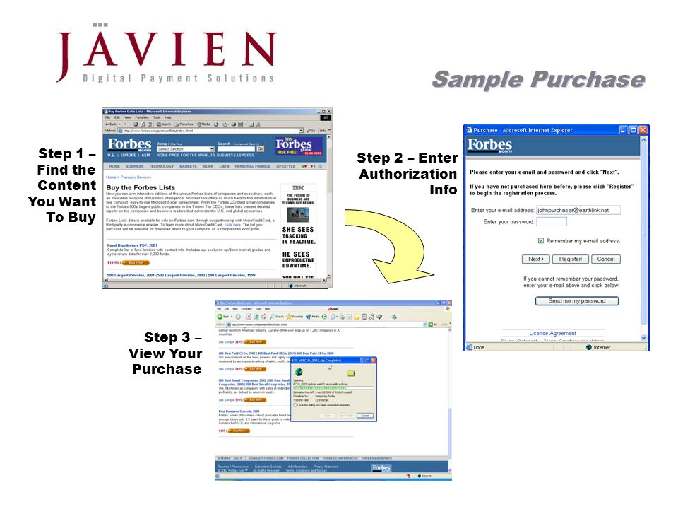 APR 2004 Commerce Solutions for Content Providers 16 Sample Purchase Step 1 – Find the Content You Want To Buy Step 2 – Enter Authorization Info Step 3 – View Your Purchase