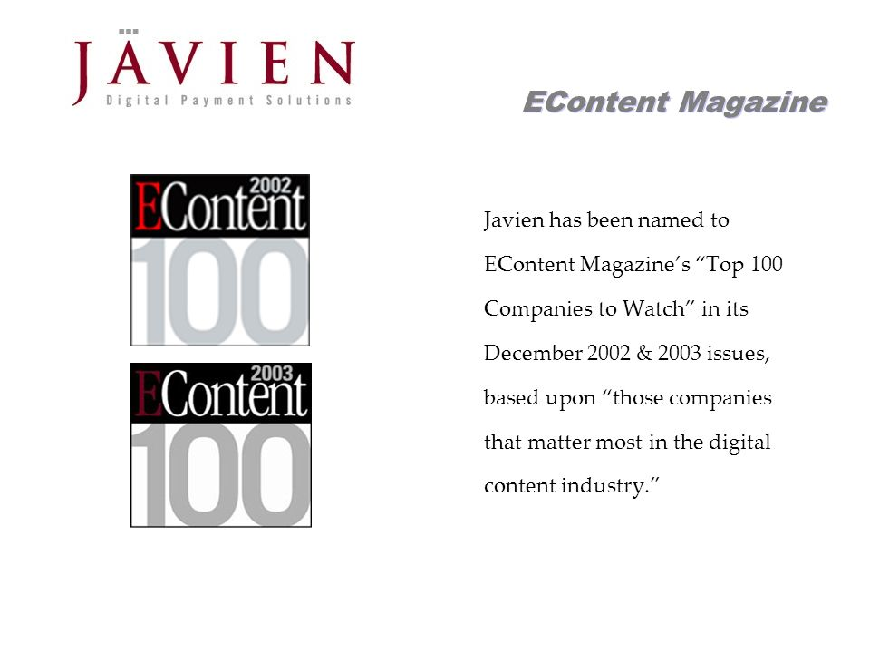 APR 2004 Commerce Solutions for Content Providers 15 Products Javien supports the full spectrum of digital product offerings Reoccurring subscriptions Time-based access - day, week & month passes Single document purchases All products can be sold as either a pay-per- download or pay-per-view Can sell any type of digital asset – text, images, video & audio, in any format Easy to create content bundles for targeted audiences