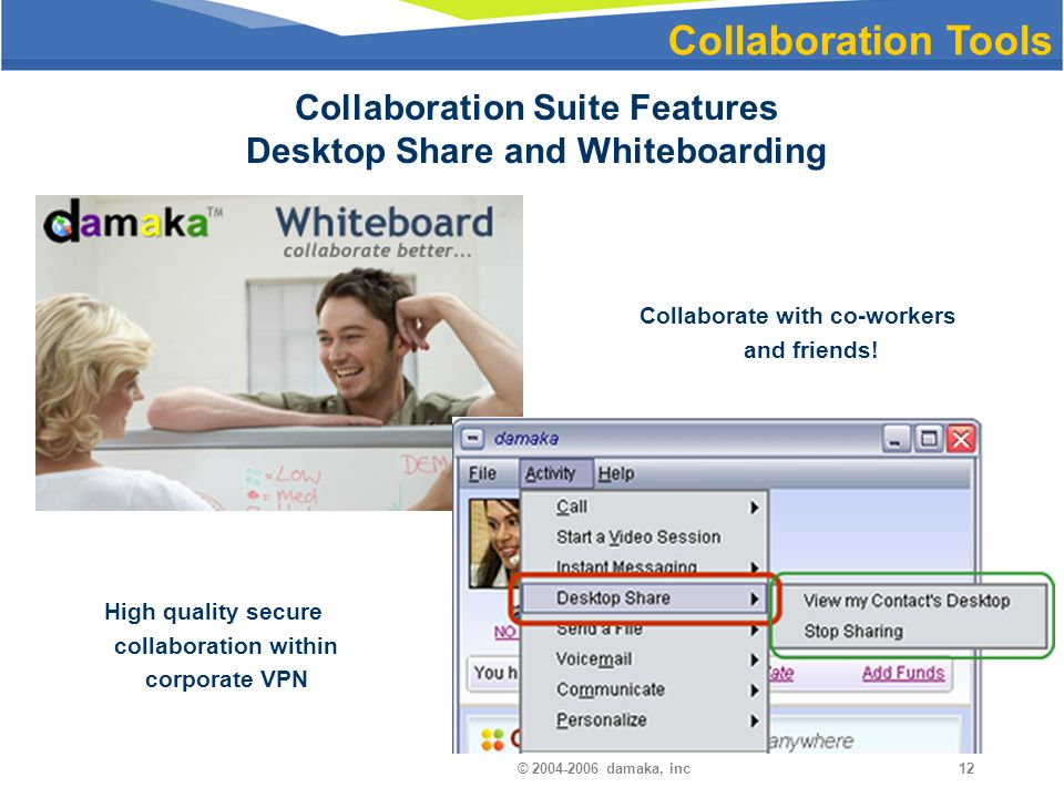 © damaka, inc12 Collaboration Tools Collaboration Suite Features Desktop Share and Whiteboarding Collaborate with co-workers and friends.