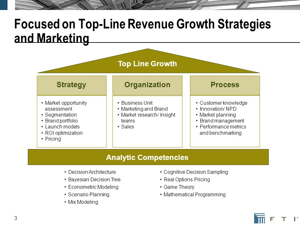 3 Focused on Top-Line Revenue Growth Strategies and Marketing StrategyOrganizationProcess Top Line Growth Market opportunity assessment Segmentation Brand portfolio Launch models ROI optimization Pricing Business Unit Marketing and Brand Market research/ Insight teams Sales Customer knowledge Innovation/ NPD Market planning Brand management Performance metrics and benchmarking Analytic Competencies Decision Architecture Bayesian Decision Tree Econometric Modeling Scenario Planning Mix Modeling Cognitive Decision Sampling Real Options Pricing Game Theory Mathematical Programming