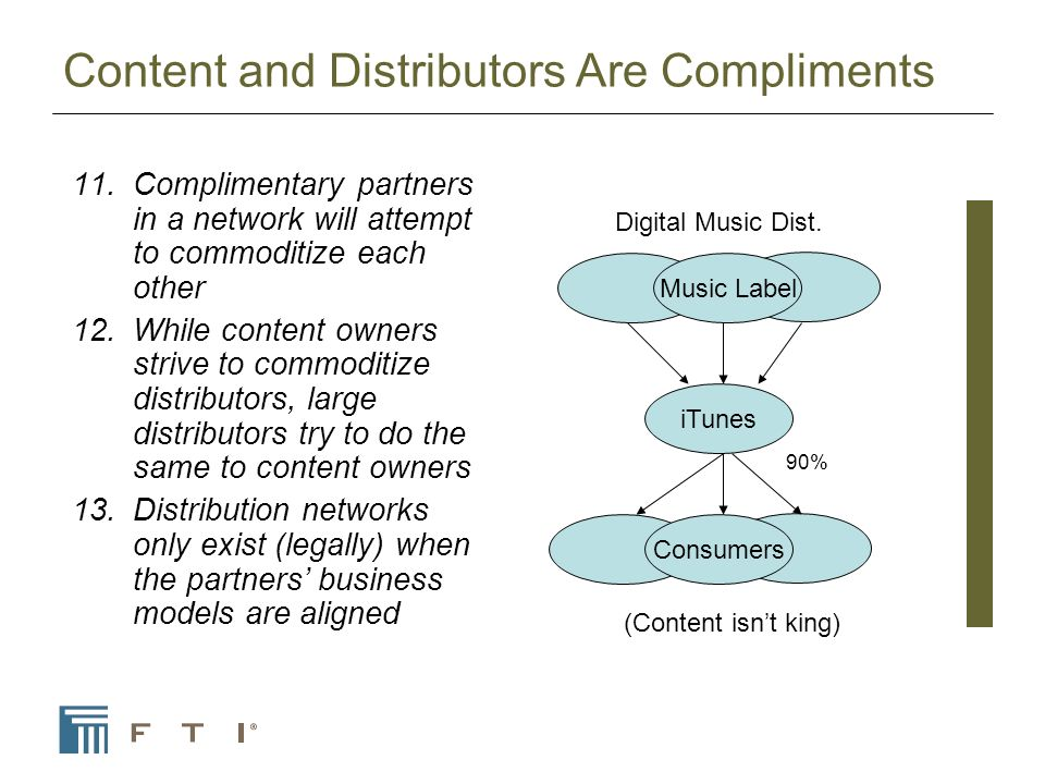 Content and Distributors Are Compliments 11.Complimentary partners in a network will attempt to commoditize each other 12.While content owners strive to commoditize distributors, large distributors try to do the same to content owners 13.Distribution networks only exist (legally) when the partners business models are aligned Best BuyWal-MartBorders.