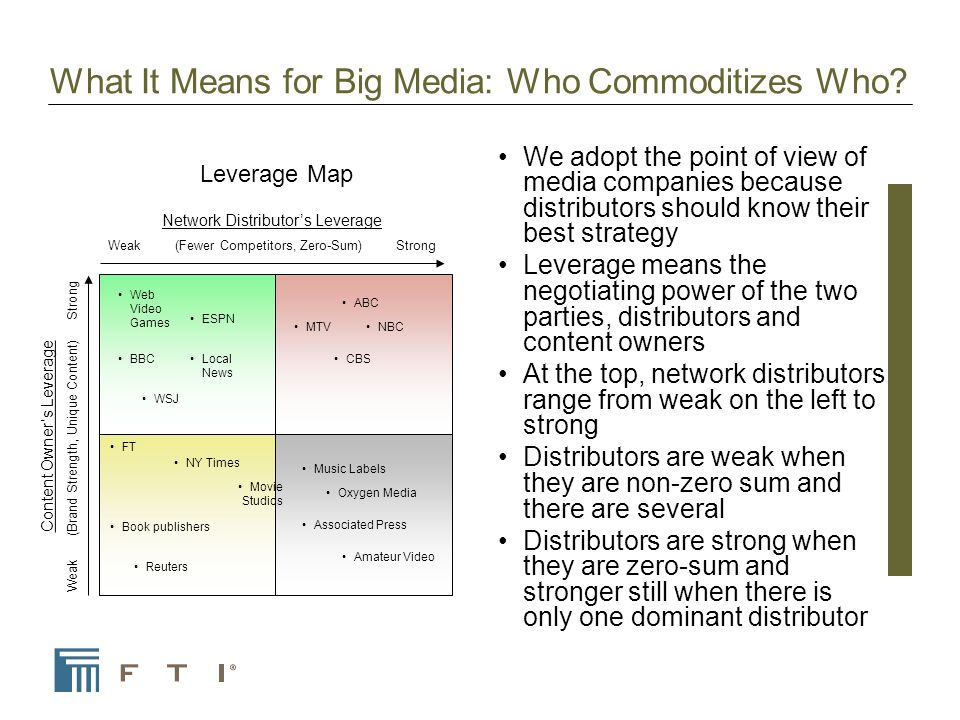 What It Means for Big Media: Who Commoditizes Who.
