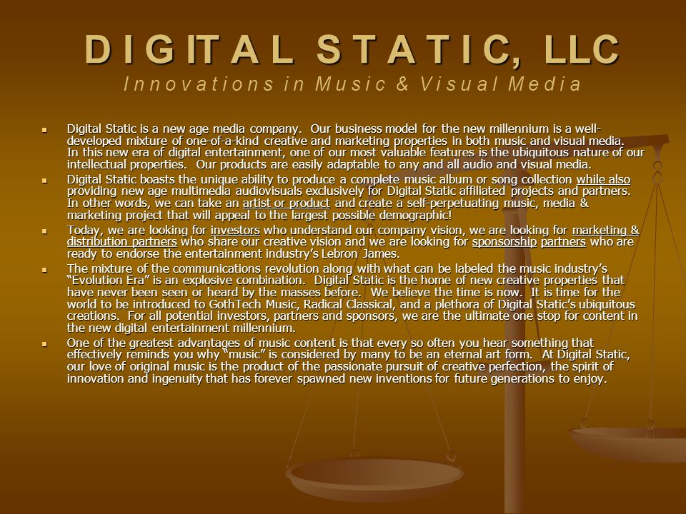 Digital Static is a new age media company.