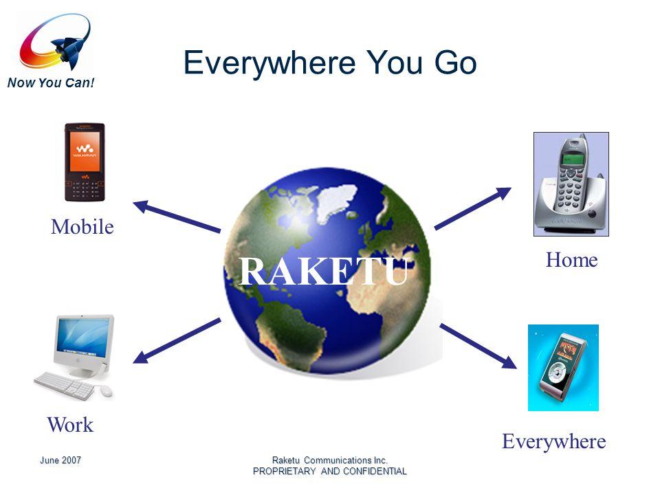 Now You Can! June 2007Raketu Communications Inc. PROPRIETARY AND CONFIDENTIAL Everywhere You Go Home Work Mobile Everywhere RAKETU