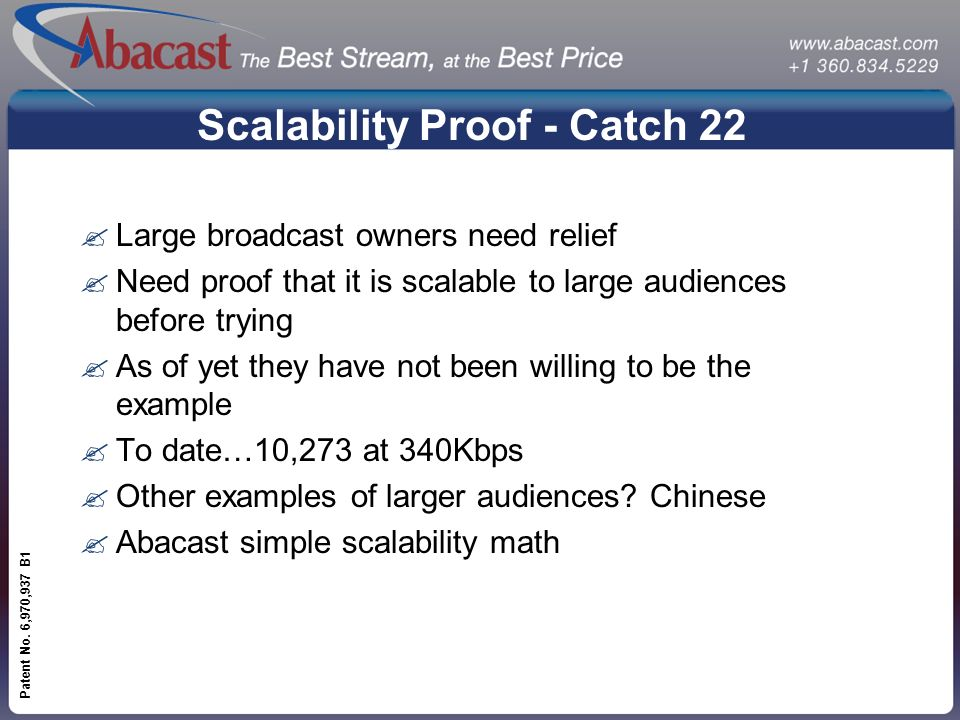 www.abacast.com Patent No. 6,970,937 B1 Scalability Proof - Catch 22 ?Large broadcast owners need relief ?Need proof that it is scalable to large audi
