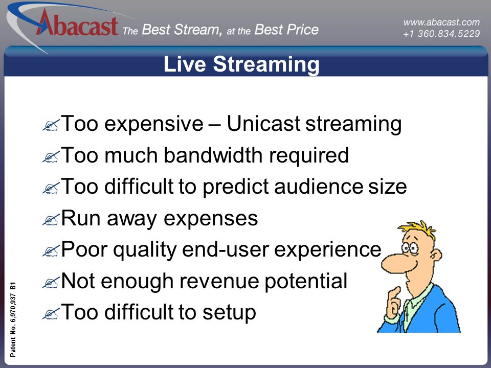 www.abacast.com Patent No. 6,970,937 B1 Live Streaming ?Too expensive – Unicast streaming ?Too much bandwidth required ?Too difficult to predict audie