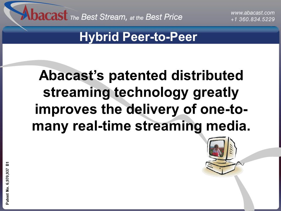 www.abacast.com Patent No. 6,970,937 B1 Hybrid Peer-to-Peer Abacasts patented distributed streaming technology greatly improves the delivery of one-to
