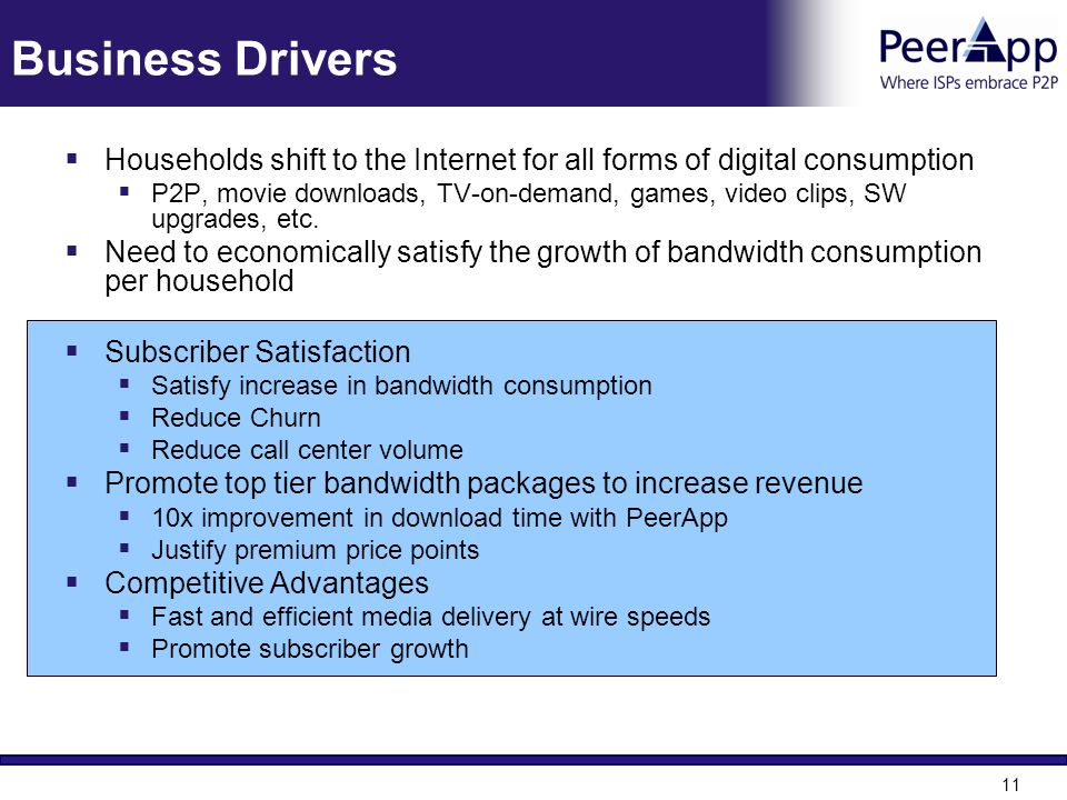 11 Business Drivers Households shift to the Internet for all forms of digital consumption P2P, movie downloads, TV-on-demand, games, video clips, SW u