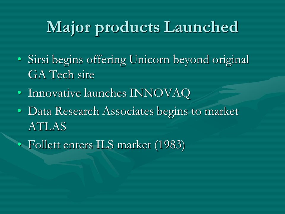 Major products Launched Sirsi begins offering Unicorn beyond original GA Tech siteSirsi begins offering Unicorn beyond original GA Tech site Innovativ