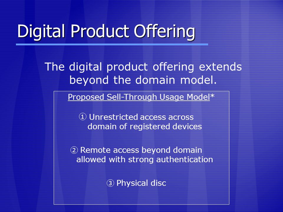 Digital Product Offering The digital product offering extends beyond the domain model. Proposed Sell-Through Usage Model* Unrestricted access across d