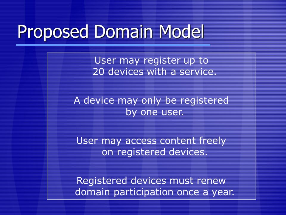 Proposed Domain Model User may register up to 20 devices with a service. A device may only be registered by one user. User may access content freely o