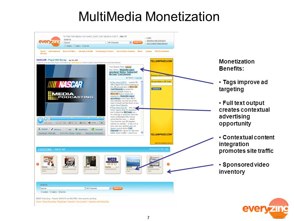 MultiMedia Monetization 7 Monetization Benefits: Tags improve ad targeting Full text output creates contextual advertising opportunity Contextual content integration promotes site traffic Sponsored video inventory