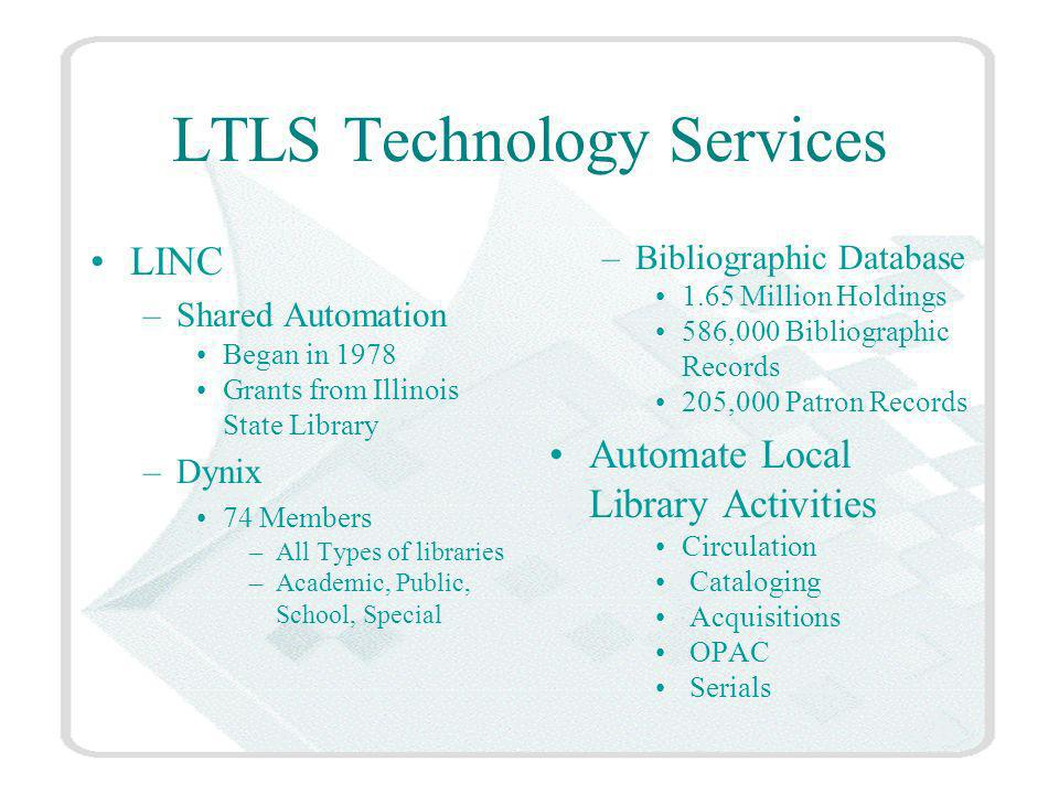 LTLS Technology Services LINC –Shared Automation Began in 1978 Grants from Illinois State Library –Dynix 74 Members –All Types of libraries –Academic, Public, School, Special –Bibliographic Database 1.65 Million Holdings 586,000 Bibliographic Records 205,000 Patron Records Automate Local Library Activities Circulation Cataloging Acquisitions OPAC Serials