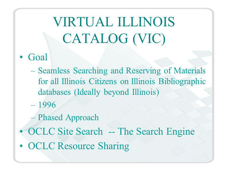 VIRTUAL ILLINOIS CATALOG (VIC) Goal –Seamless Searching and Reserving of Materials for all Illinois Citizens on Illinois Bibliographic databases (Ideally beyond Illinois) –1996 –Phased Approach OCLC Site Search -- The Search Engine OCLC Resource Sharing