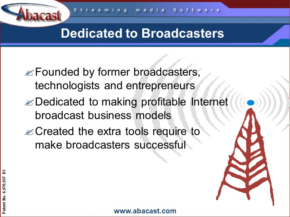 www.abacast.com Patent No. 6,970,937 B1 Dedicated to Broadcasters ?Founded by former broadcasters, technologists and entrepreneurs ?Dedicated to makin