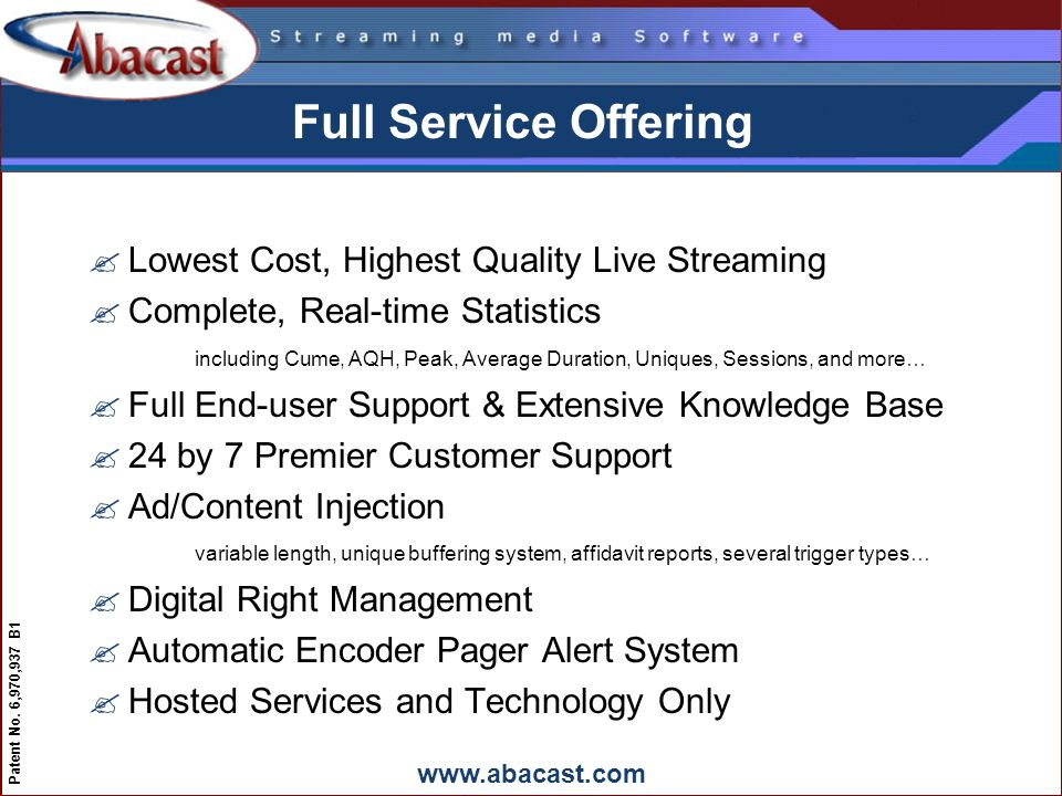 www.abacast.com Patent No. 6,970,937 B1 Full Service Offering ?Lowest Cost, Highest Quality Live Streaming ?Complete, Real-time Statistics including C