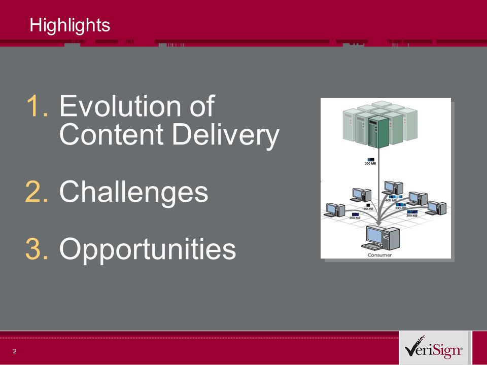 2 Highlights 1.Evolution of Content Delivery 2.Challenges 3.Opportunities