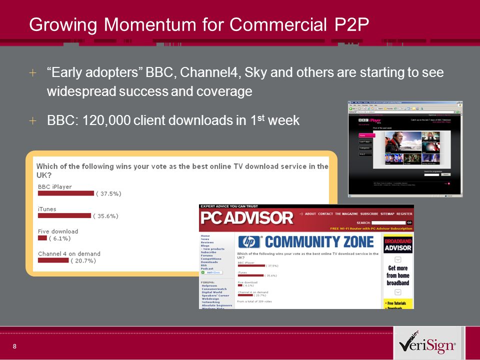 8 Growing Momentum for Commercial P2P + Early adopters BBC, Channel4, Sky and others are starting to see widespread success and coverage + BBC: 120,000 client downloads in 1 st week