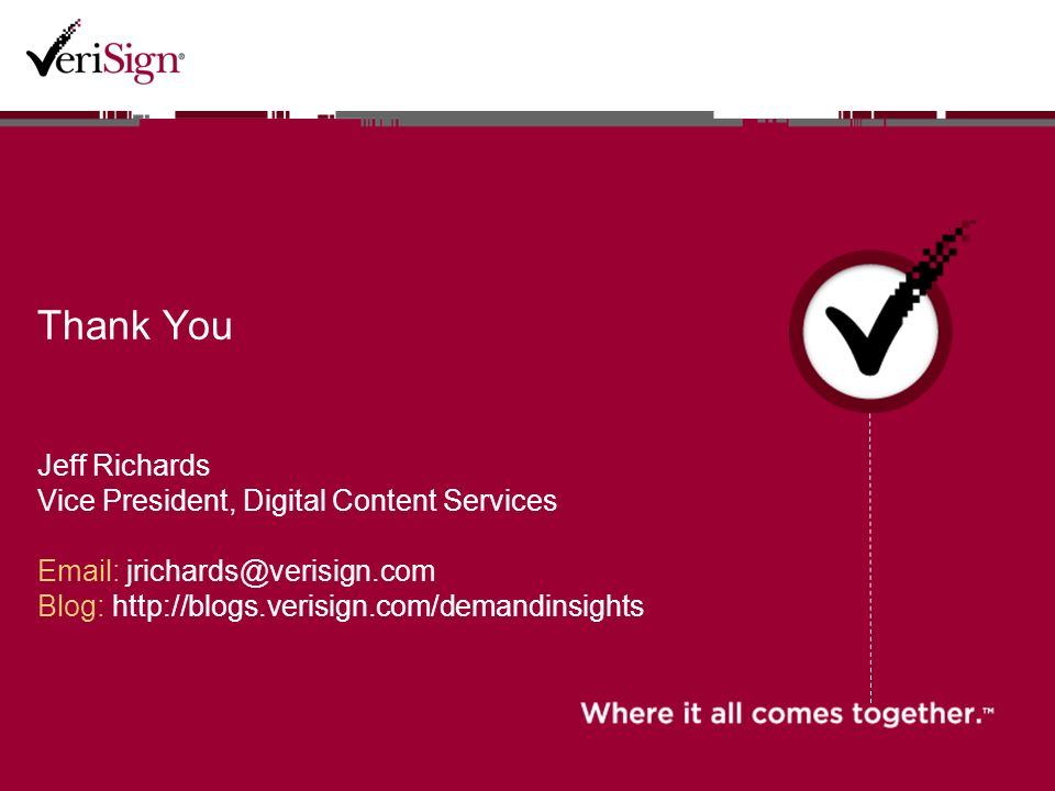 Thank You Jeff Richards Vice President, Digital Content Services   Blog: