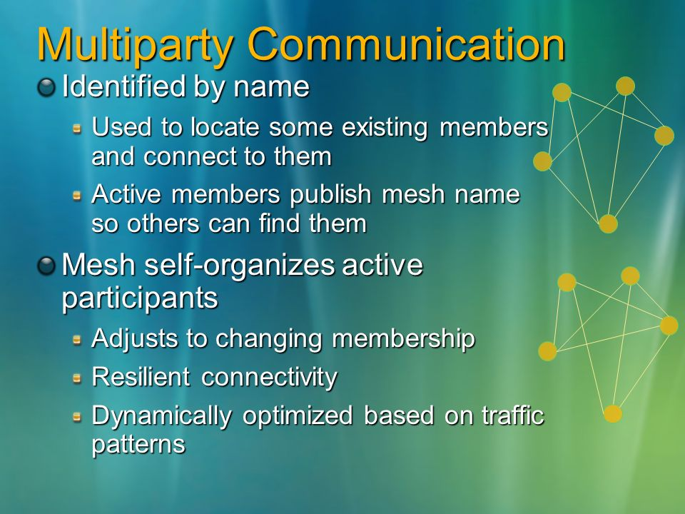 Multiparty Communication Identified by name Used to locate some existing members and connect to them Active members publish mesh name so others can find them Mesh self-organizes active participants Adjusts to changing membership Resilient connectivity Dynamically optimized based on traffic patterns