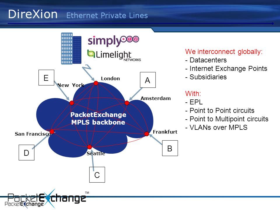 London Amsterdam Frankfurt San Francisco Seattle New York DireXion Ethernet Private Lines A B C D E We interconnect globally: - Datacenters - Internet Exchange Points - Subsidiaries With: - EPL - Point to Point circuits - Point to Multipoint circuits - VLANs over MPLS PacketExchange MPLS backbone