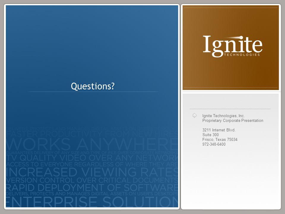 Ignite Technologies, Inc. Proprietary Corporate Presentation 3211 Internet Blvd. Suite 300 Frisco, Texas 75034 972-348-6400 Questions?