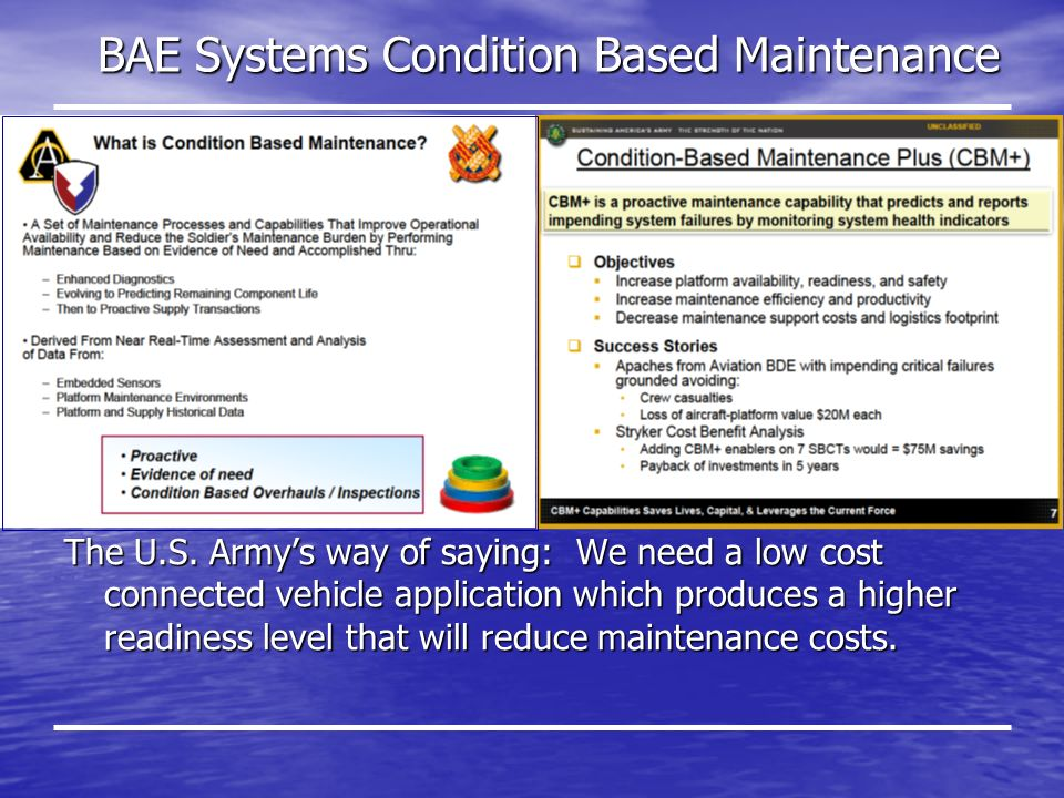 BAE Systems Condition Based Maintenance The U.S.