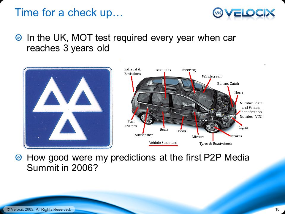 © Velocix 2009. All Rights Reserved.10 Time for a check up… In the UK, MOT test required every year when car reaches 3 years old How good were my pred