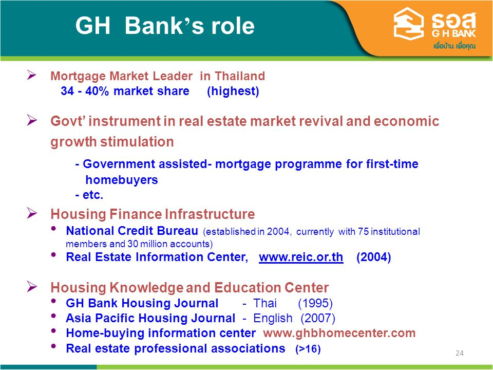 24 Mortgage Market Leader in Thailand 34 - 40% market share (highest) Govt instrument in real estate market revival and economic growth stimulation - Government assisted- mortgage programme for first-time homebuyers - etc.