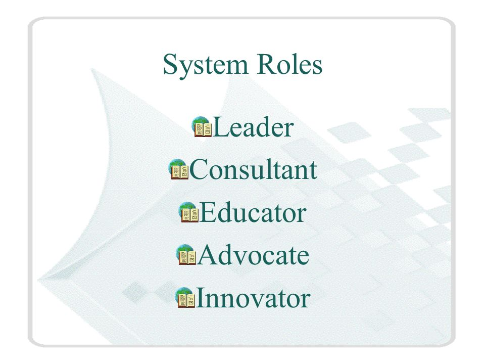 System Roles Leader Consultant Educator Advocate Innovator