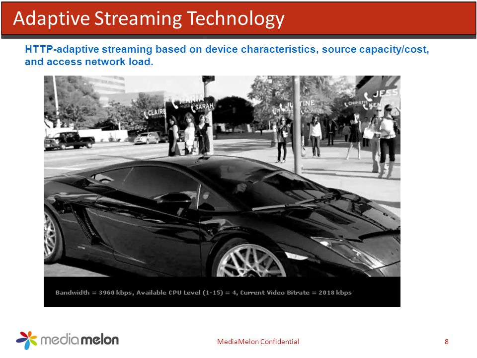 8MediaMelon Confidential Adaptive Streaming Technology HTTP-adaptive streaming based on device characteristics, source capacity/cost, and access network load.