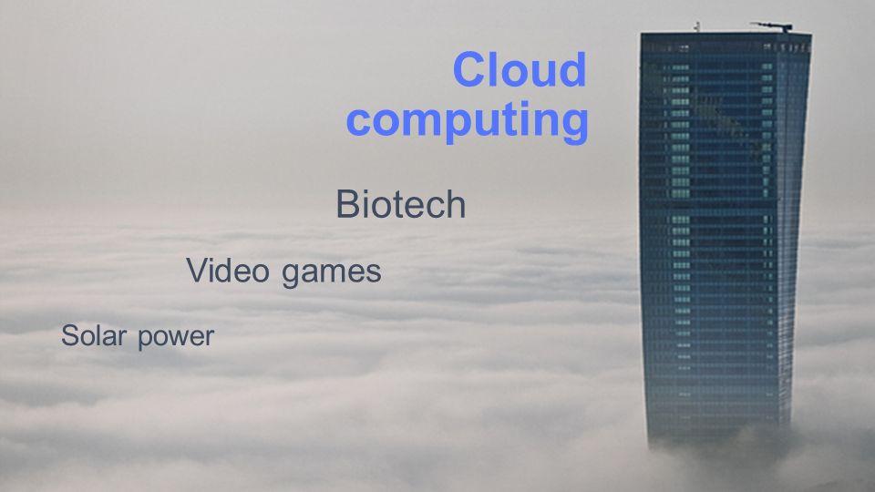 Solar power Video games Biotech computing Cloud