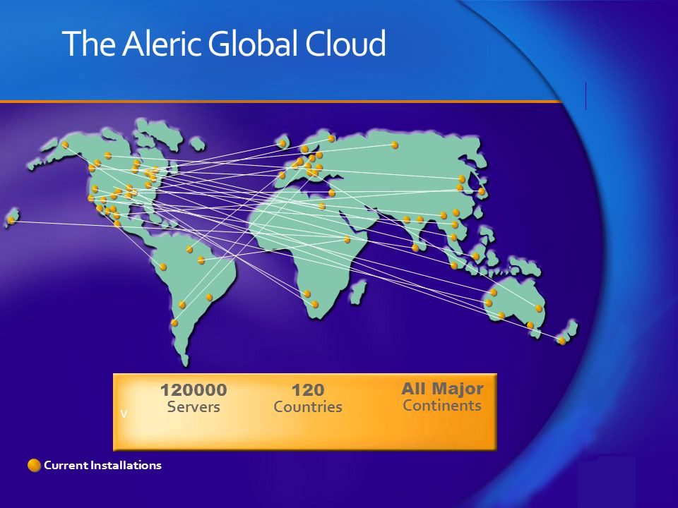 Current Installations The Aleric Global Cloud v 120000 Servers 120 Countries All Major Continents
