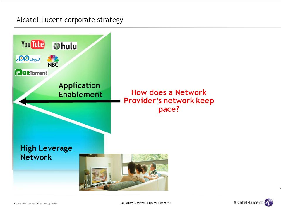 All Rights Reserved © Alcatel-Lucent 2010 14 | Alcatel-Lucent Ventures | 2010 Design Goal: To develop a cloud infrastructure that allows us to execute time-sensitive, stateful, session-oriented applications in a secure environment.