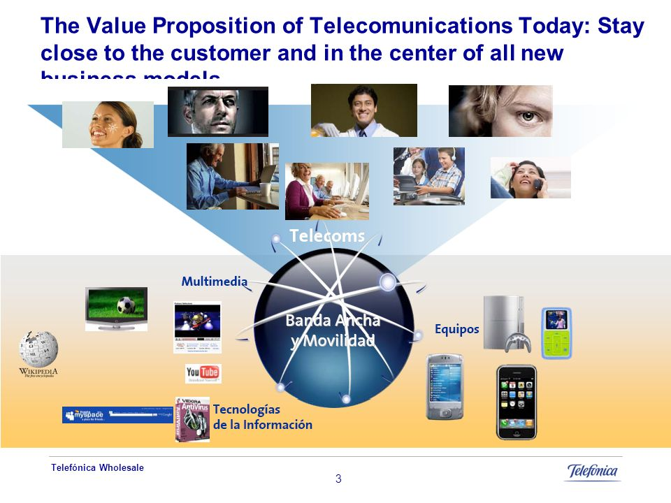 Telefónica Wholesale 3 The Value Proposition of Telecomunications Today: Stay close to the customer and in the center of all new business models